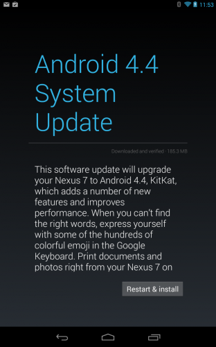Android Kitkat system update