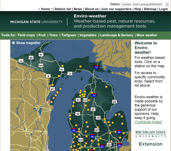 Michigan State University Enviro-Weather tool